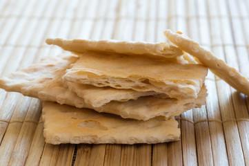 Close up shot of broken diabetic crackers