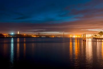Night on river Tejo - Lisbon, Portugal