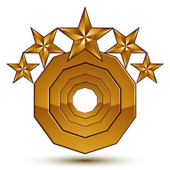 Wonderful vector template with 5 golden stars, rounded symbol, b