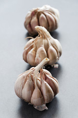 Cloves of garlic in a row