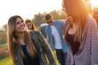 Portrait of group of friends having fun in field. - 73174564