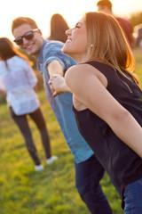 Portrait of group of friends having fun in field.