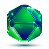 Vector emerald 3d geometrical art sparkling object, radiance smo poster