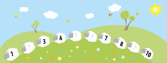 sheeps and missing numbers- vectors for children