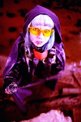 Woman apocalypse killer holding Japanese sword