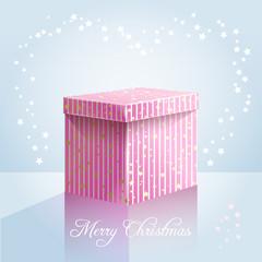Pink box on light blue background
