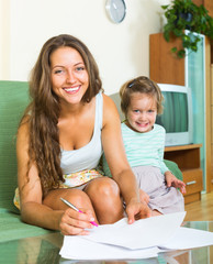 Cheerful woman and daughter