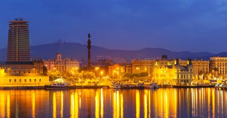 Barcelona city and Port in night. Catalonia