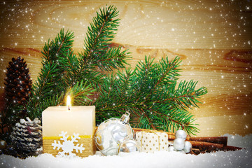 Christmas background with white advent candle.