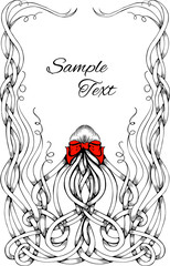 Black and white frame made by long curly hair with big red bow.