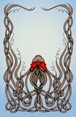 Frame made by long curly hair with big red bow.
