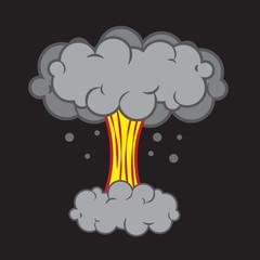 Cartoon explosion with mushroom cloud