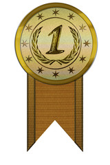 Photo Realistic Medal - First Place with Ribbon