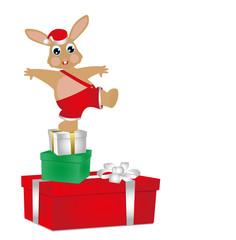 coniglietto su pacchi regalo di natale