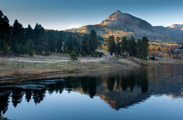 mountain lake view in sunset, colorado