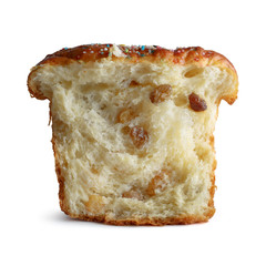 Piece of bread with raisins