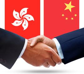 Representatives of Hong Kong and China shake hands
