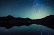 Leinwanddruck Bild - milky way reflection at William's lake,colorado