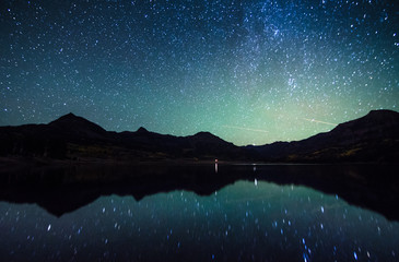 milky way reflection at William's lake,colorado
