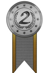 Photo Realistic Medal - Second Place with Ribbon