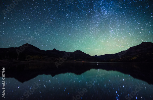 Poster Meer / Vijver milky way reflection at William's lake,colorado