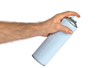 Spray bottle can in hand (isolated)