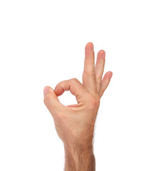 Hand showing OK sign (isolated)
