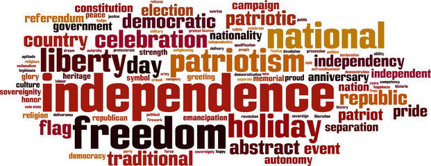 Independence word cloud concept. Vector illustration