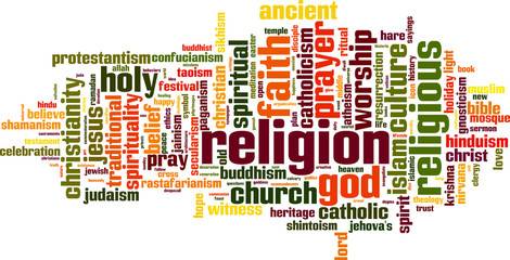 Religion word cloud concept. Vector illustration