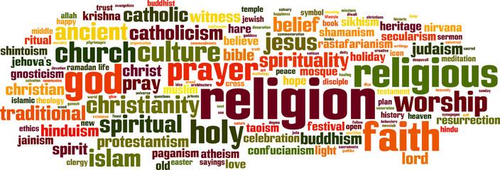 Religion word cloud concept. Vector illustration