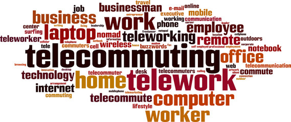 Telework word cloud concept. Vector illustration