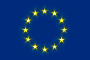 The flag of European Union with 12 glowing stars
