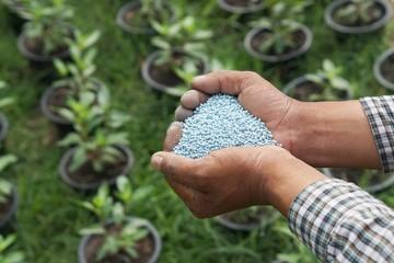 hands holding artificial fertilizer