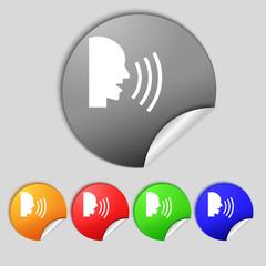 Talking Flat modern web icon. Set colour button.