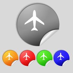 Airplane sign. Plane symbol. Travel icon. Flight flat label. Set