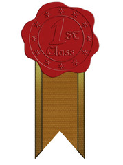First Class Red Wax Seal with Ribbon