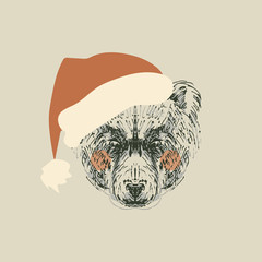 Illustration of retro bear with santa hat