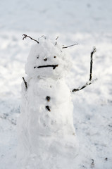 snowman on snow background