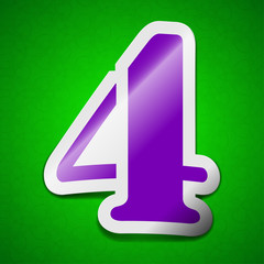 number four icon sign. Symbol chic colored sticky label on green