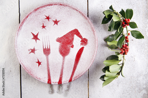 canvas print picture Christmas red plate