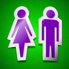 men and woomen, Toilet icon sign. Symbol chic colored sticky