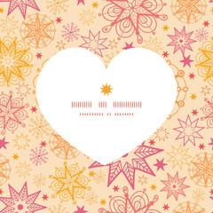 Vector warm stars heart silhouette pattern frame