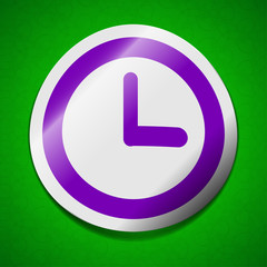 Alarm clock icon sign. Symbol chic colored sticky label on green