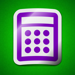 Calculator icon sign. Symbol chic colored sticky label on green