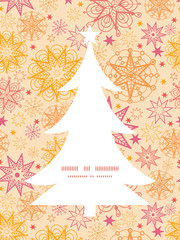Vector warm stars Christmas tree silhouette pattern frame card