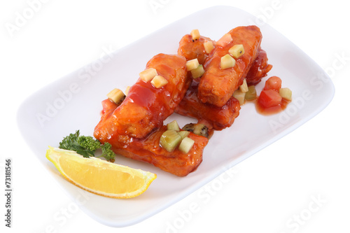 Papiers peints Assortiment Chinese cuisine, pork Breaded and sour-sweet sauce on white.