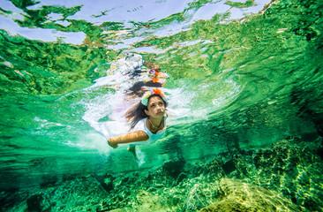 Beautiful woman in the sea