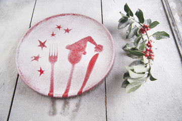 Christmas red plate