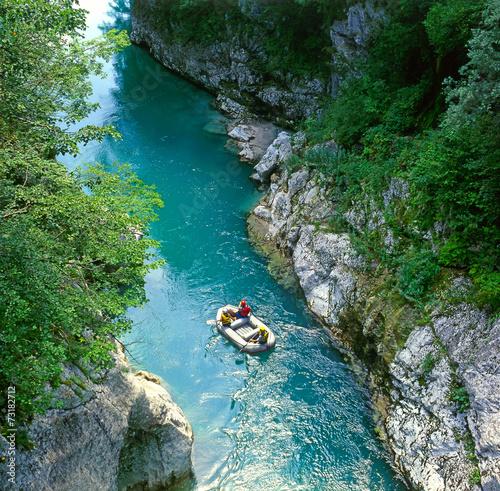 Plexiglas Canyon The Soca river, Triglav national park, Slovenia, Europe