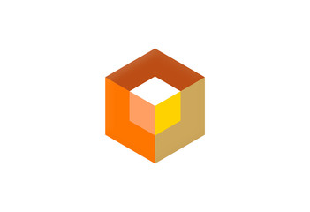 box polygon 3D abstract design logo